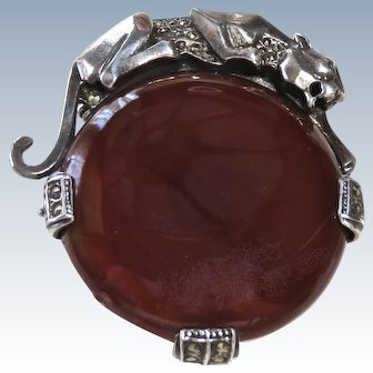 Large Carnelian+Marcasite Sterling Panther Pendant Brooch