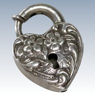 Walter Lampl Puffy Heart Sterling Padlock Clasp Charm
