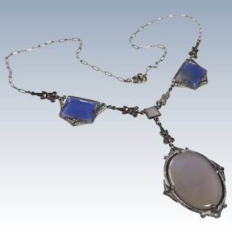 Edwardian Chalcedony Sterling Lavalier Necklace