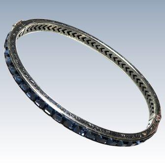 "Art Deco Sapphire Paste Sterling Bangle Bracelet 3/16"""