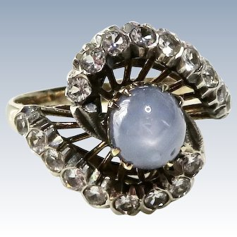 Antique 14K Star Sapphire + Spinel Ring
