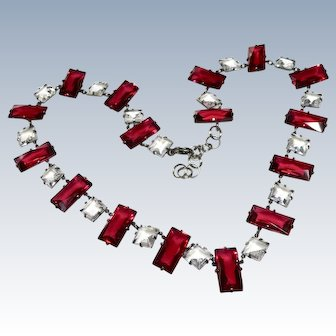Art Deco Ruby and Clear Paste Sterling Necklace