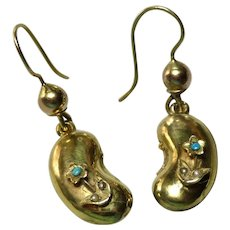 Victorian Lucky Bean 9K Gold Forget Me not Earrings