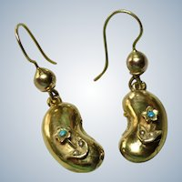 Victorian Lucky Bean 9KT Gold Forget Me not Earrings