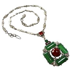 Art Deco Chrysoprase+Carnelian Wachenheimer Sterling Necklace