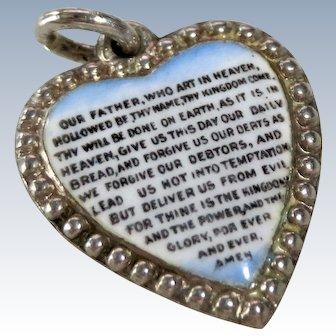 Victorian Enamel Puffy Heart Lords Prayer Sterling Charm