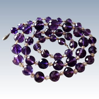 Deco Faceted Natural Amethyst Necklace Sterling