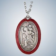 Vintage Enamel Saint Christopher Sterling Pendant Necklace