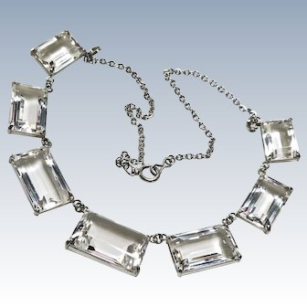 Deco White Rock Crystal Japan Sterling Necklace