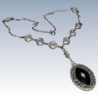 Edwardian Onyx Paste Sterling Necklace