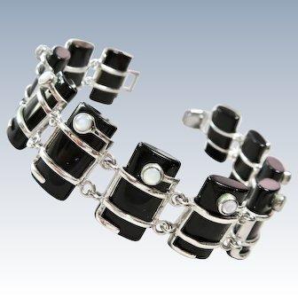 Moonstone and Onyx Quartz Sterling Bracelet