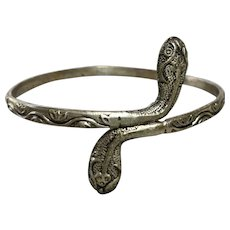 Antique Belly Dancer Silver Snake Bangle Bracelet