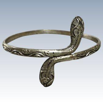 Antique Belly Dancer Silver Snake Bangle Bracelet