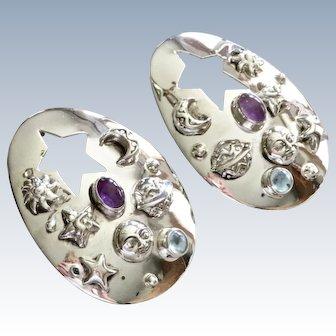 Carol Felley South West Celestial Topaz Amethyst Sterling Earrings Large