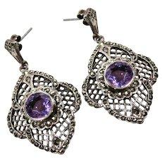 Nouveau Style Amethyst Marcasite Sterling Earrings