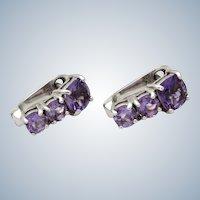 Art Deco Style Amethyst Sterling Lever back Earrings