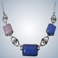Art Deco Chalcedony Sterling Necklace