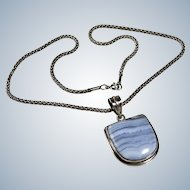 Blue Lace Agate Sterling Necklace