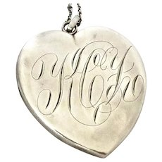 Victorian Huge Sterling Heart Locket Pendant F&B