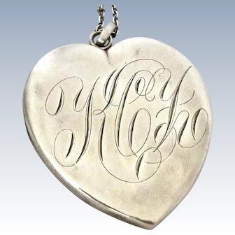 Victorian Huge Sterling Heart Locket Pendant F&B