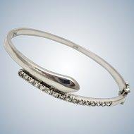 Deco Style Sterling Snake Bangle Bracelet CZ's