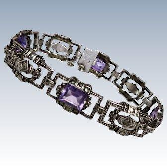 Art Deco Amethyst Marcasite 935 Sterling Bracelet