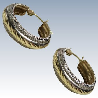 14K White & Yellow Gold Hoop Earrings