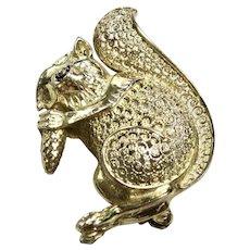 Sterling German Filigree Squirrel Brooch Pin