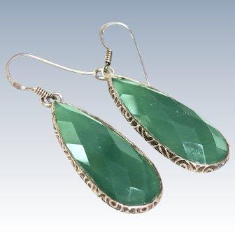 Art Deco Chrysoprase Sterling Earrings