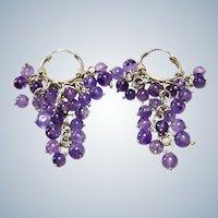 Amethyst + Sterling Dangle Hoop Earrings