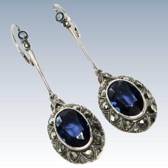 Edwardian Sapphire Paste 935 Sterling Earrings Pierced