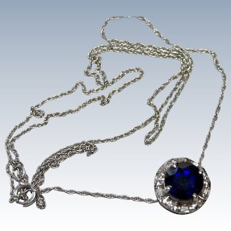 Blue Sapphire + Diamond 10K White Gold Necklace