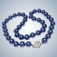 Vintage Faux Glass Blue Pearl Necklace