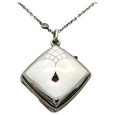 Art Nouveau Sterling Locket & Paste Chain Necklace
