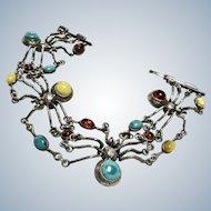 Vintage Gem Stone Huge Spiders Sterling Bracelet