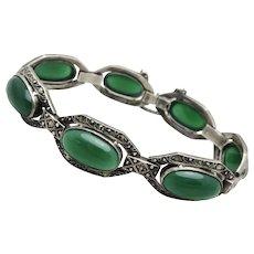 Art Deco Germany Chrysoprase Sterling Bracelet Marcasites