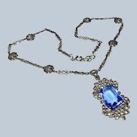 Edwardian Germany Blue Glass + Marcasite Sterling Necklace