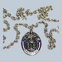 Deco WWII Sterling Enamel Protect Us All Military Pendant