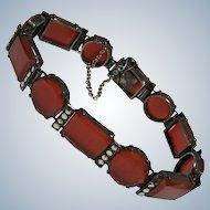 Art Deco German Carnelian Marcasite Sterling bracelet