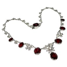 Fab 40's Glam Diamond + Ruby Paste Butterfly Sterling Necklace English