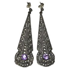 Deco Style Amethyst Marcasite Sterling Earrings
