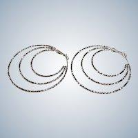 Huge Sterling Hoop Earrings Omega's for pierced