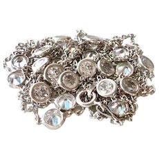 """Diamonds (Faux) by the yard Sterling 42"""" Necklace"""