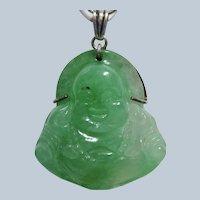 Vintage Jadeite Buddha Large Sterling Pendant Necklace