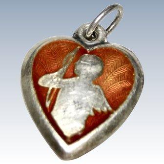 1940's Enamel Sterling Puffy Heart Cupid Charm