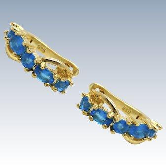 Blue Apatite Sterling Vermeil Earrings