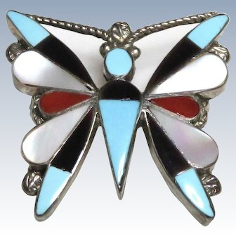 Zuni Turquoise Coral MOP Onyx Butterfly Sterling Brooch Pendant