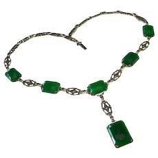 Art Deco Chrysoprase Marcasite Sterling Necklace