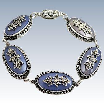 Edwardian Blue Chalcedony Sterling Bracelet