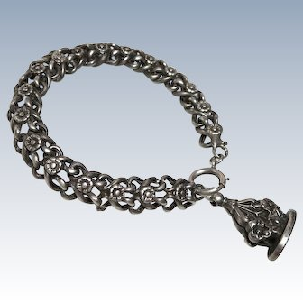 Victorian Watch Chain Bracelet Sterling with Wax Seal Fob
